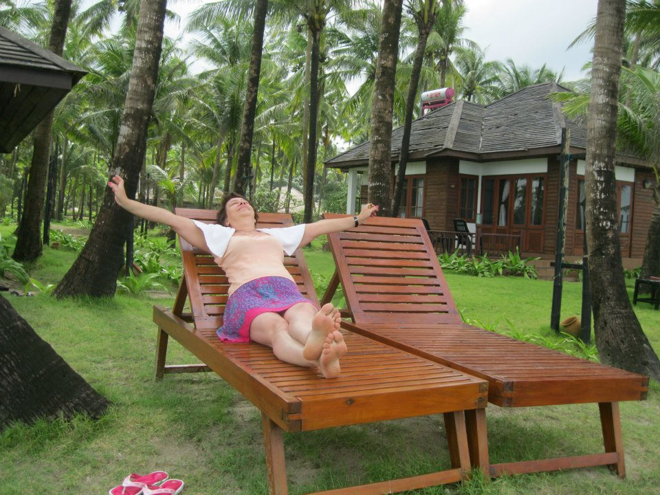 My mother enjoying her time on Ngwe Saung Beach in Myanmar. September 2012. Photo: Life in the Tropics